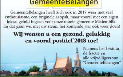 GemeenteBelangen wenst u een gezond, gelukkig en vooral positief 2018 toe